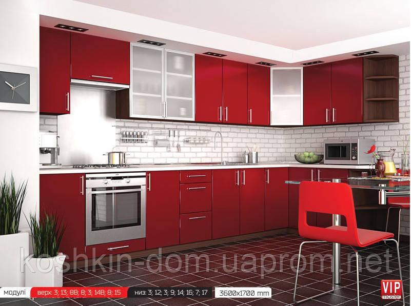 Кухня модульная, угловая MDF пленочный чери 3600*1700 мм