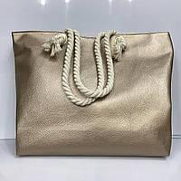 Женская сумка из кожзаменителя на канатных ручках