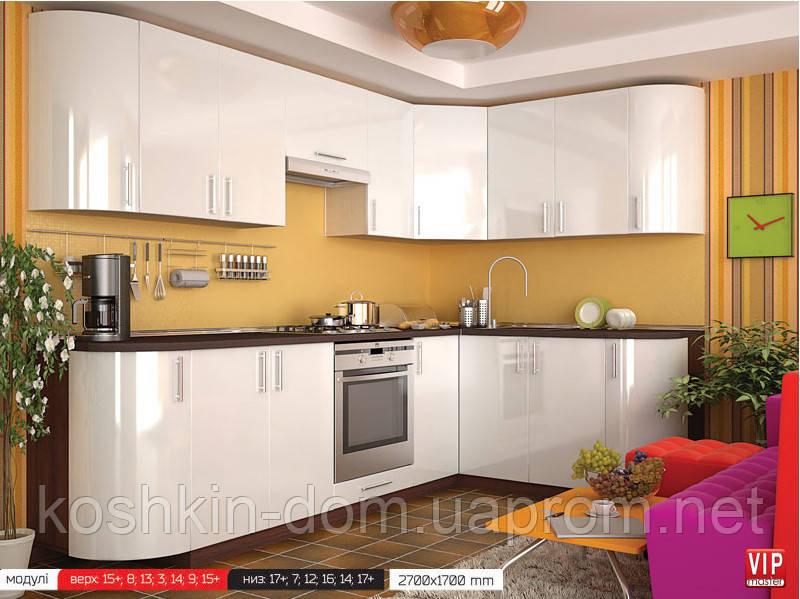 Кухня модульная, угловая MDF пленочный лайт 2700*1700 мм