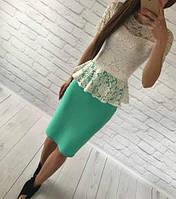 Костюм  юбочный летний нарядный, кофта гипюровая с короткими рукавами+юбка миди  (8 цветов)