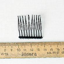 Гребешок черный металлический 10 зубцов