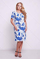 Батальное летнее платье АДЕЛЬ голубой ТМ Таtiana 54-60 размеры