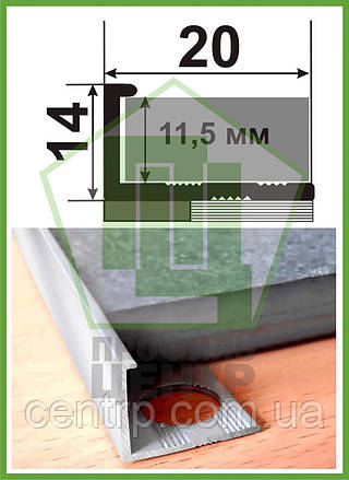 "Торцевой профиль на плитку до 12 мм. АП 12 анод ""Серебро"" L-2.7 м"