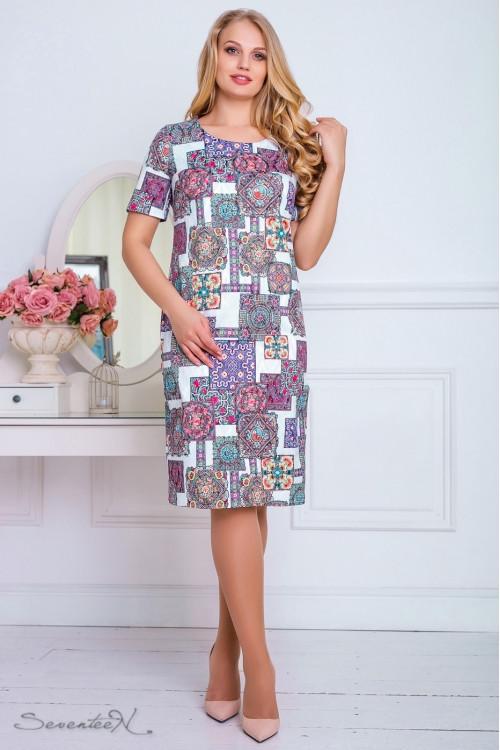 Красивое летнее платье 2197 белый,бежевый принт (52-58)