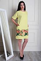 Желтое летнее платье свободного кроя