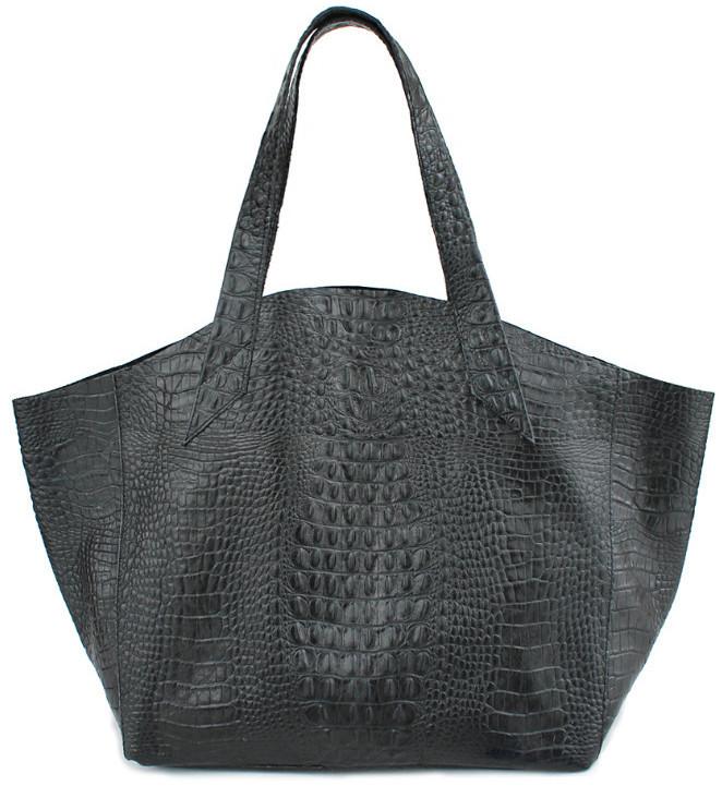 e3550db4413a Женская кожаная сумка под крокодила poolparty-fiore-crocodile-black 24 л