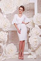 Коктельное, облегающее платье из креп-дайвинга, белое, размер 44, 46,48