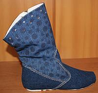 Летние сапоги женские джинсовые, летняя женская обувь от производителя модель МИ4067-6Н