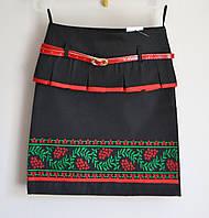 Юбка детская для девочки, черного цвета, с вышивкой, фото 1