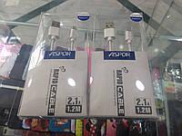 Кабель Aspor для Apple iPhone 5/6/7 2.1A 1m