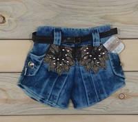 Шорты джинсовые с поясом и нашивкой на девочку 1, 2, 3, 4 и 5 лет Турция