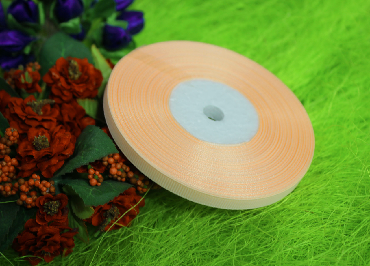 Лента репсовая персиковая 6 мм, 23 м