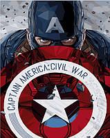 Раскраска по номерам без коробки Капитан Америка со щитом (BK-GX3941) 40 х 50 см