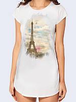 """Женская стильная туника """"Чарующий Париж"""" с изображением Эйфелевой башни из легкого трикотажа."""