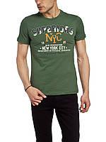 Мужская футболка LC Waikiki болотного цвета с надписью Superiors NYC