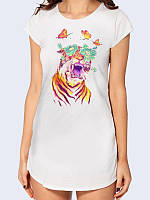 """Элегантная футболка-туника """"Тигр с цветами"""" из легкой дышащей ткани. Размеры 42-50. Яркий принт/рисунок."""