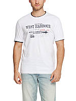 Мужская футболка LC Waikiki белого цвета с надписью West  Harbour