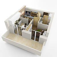 Однокімнатна квартира тип 1 Д* загальною площею 44,5 кв.м. вартістю  449 450 грн.