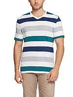 Мужская футболка LC Waikiki белого цвета в сине-зелено-серые полоски