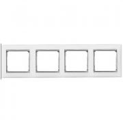 Рамка 4-местная универсальная (горизонт / вертикальн), белый / серебряный штрих, Legrand Valena Легранд Валена