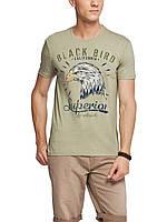 Мужская футболка LC Waikiki горчичного цвета с надписью Black bird