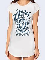 """Футболка-туника белого цвета с оригинальным рисунком """"Anchor deep"""" с коротким рукавом на лето. Новинка."""