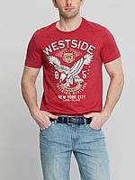 Мужская футболка LC Waikiki красного цвета с надписью Westside
