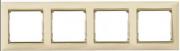 Рамка 4-місцева універсальна (горизонт/вертик), слонова кістка / золотий штрих, Legrand Valena Легранд Валена
