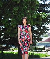 Костюм юбочный молодежный +кофта-баска, цветочный принт