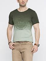 Мужская футболка LC Waikiki болотного цвета с надписью Back to the seas