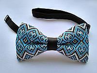 Галстук бабочки с синим орнаментом  Украинский стиль, фото 1