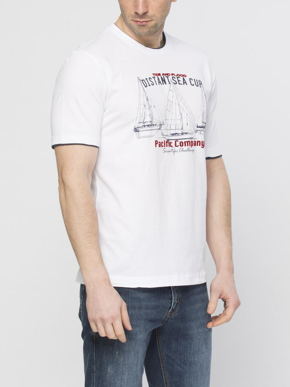 Мужская футболка белая LC Waikiki / ЛС Вайкики с надписью Distant sea cup