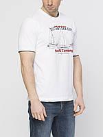 Мужская футболка LC Waikiki белого цвета с надписью Distant sea cup