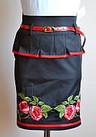 Детская юбка для девочки, черного цвета, с вышивкой, фото 1