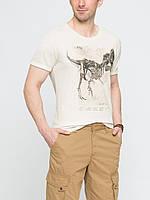 Мужская футболка LC Waikiki бежевого цвета с динозавром на груди