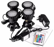Підводний мультикольорової прожектор світильник з пультом ДУ 4 х36 LED RGB