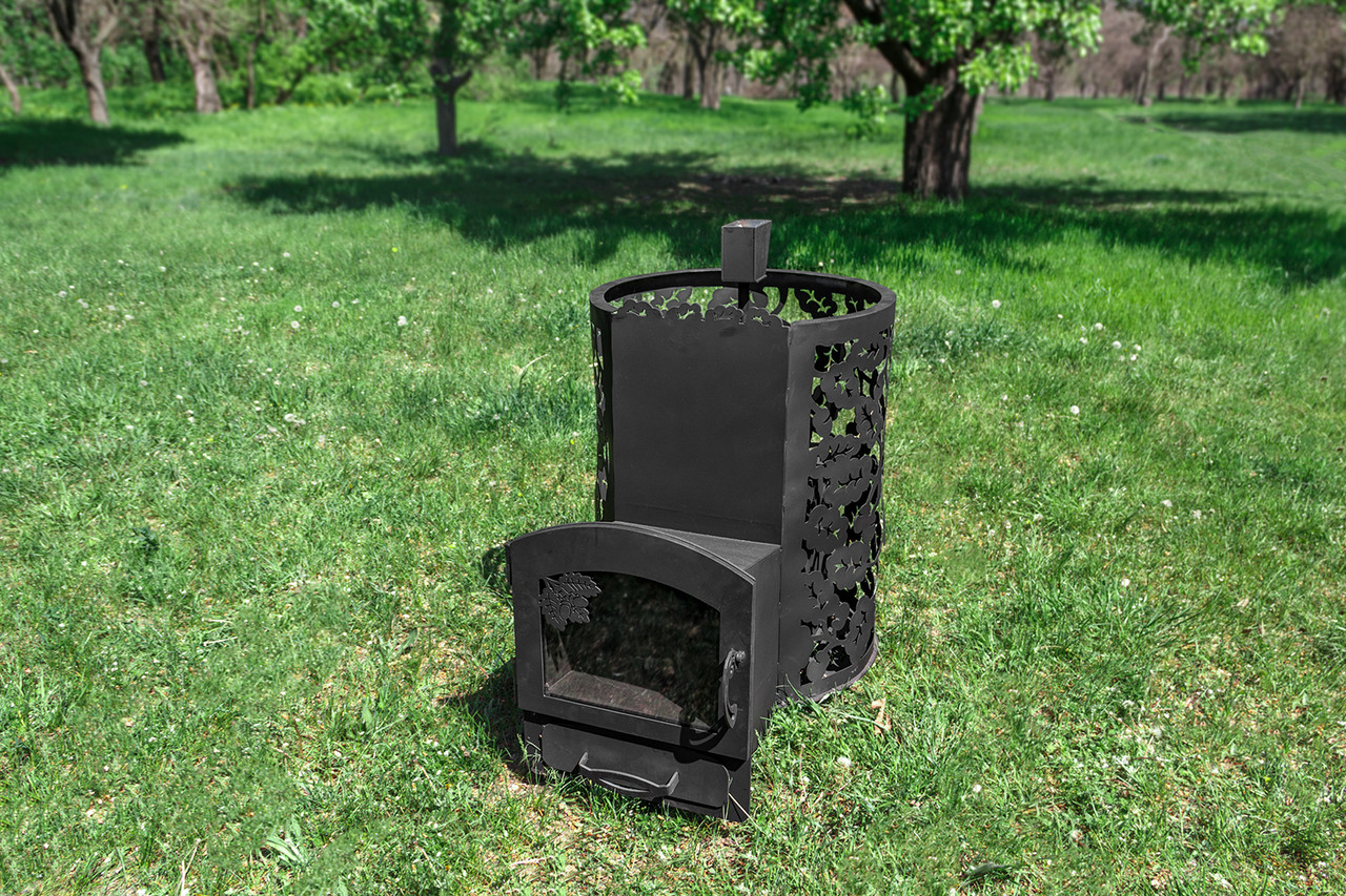 """Печь для бани на дровах """"Жанна"""" (каменка с выносом, со стеклом, с парогенератором), 8мм"""