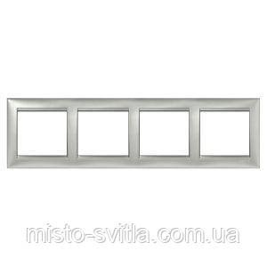 Рамка 4-местная универсальная (горизонтальная / вертикальная), алюминий, Legrand Valena Легранд Валена