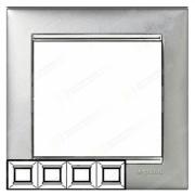 Рамка 4-местная универсальная (горизонт / вертик), алюминий / серебряный штрих, Legrand Valena Легранд Валена