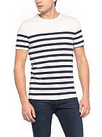 Мужская футболка LC Waikiki белого цвета в синие полоски