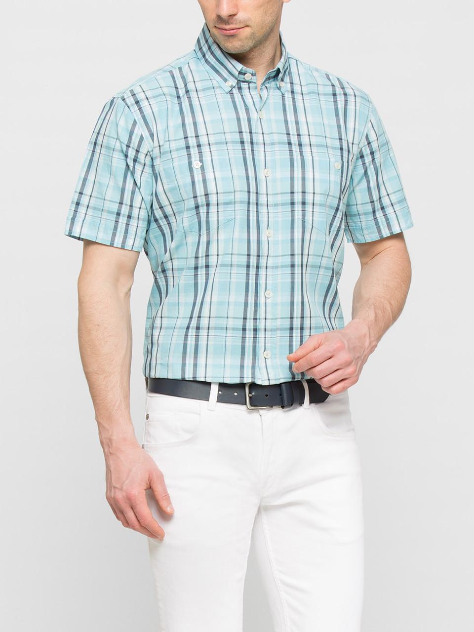 bfeef6671053c2e Мужская рубашка LC Waikiki с коротким рукавом голубого цвета в полоску -  Интернет-магазин