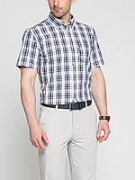 Мужская рубашка LC Waikiki с коротким рукавом белого цвета в сине-красную полоску
