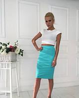 Костюм летний   молодежный короткий топ+ юбка миди  (4 цвета)