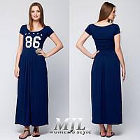 Синее летнее платье с карманами из вискозы 063
