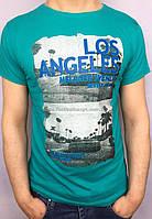 Стильная мужская хлопковая футболка с принтом Los Angeles бирюзового цвета
