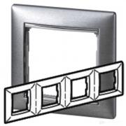 Рамка 4-местная универсальная (горизонтальная / вертикальная), алюминий матовый, Legrand Valena Легранд Валена