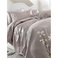 Набор постельное белье с покрывалом пике Karaca Home - Tugce vizon серое евро