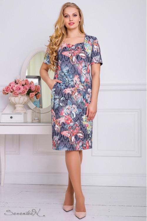 Красивое летнее платье 2206 синий (50-56)