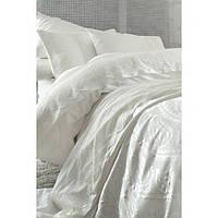 Набор постельное белье с покрывалом пике Karaca Home - Yade krem кремовое сатин евро