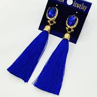 Серьги кисточки синие с камнем 210376